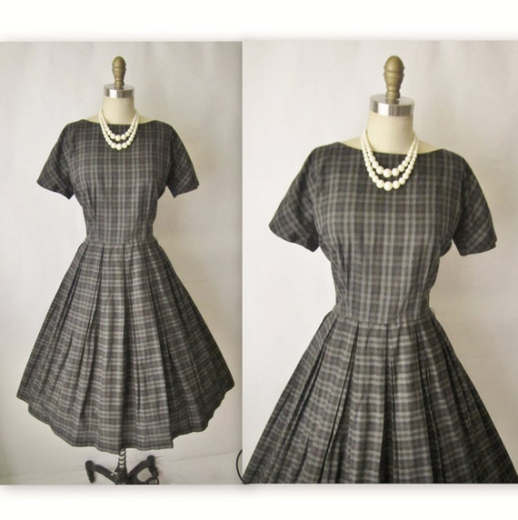 50's Charcoal Plaid Dress // Vintage 1950's Plaid Cotton Casual Mad Men Day Dress M L