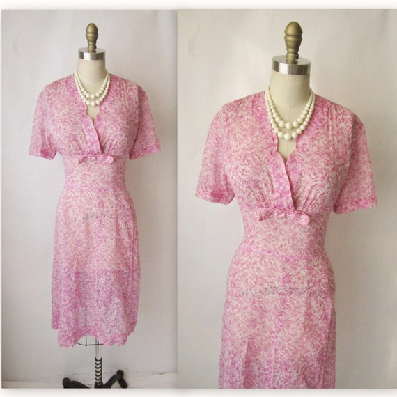 Reserved for Anne 50's Floral Dress // Vintage 1950's Floral Print Garden Party Casual Day Dress L XL
