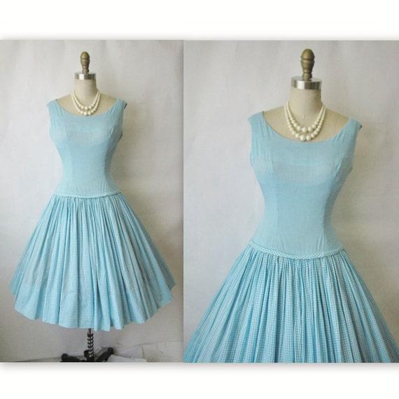 50's Gingham Dress // Vintage 1950's Aqua Gingham Cotton Garden Party Mad Men Day Dress S M