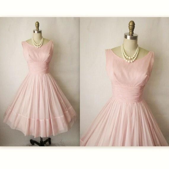 50's Chiffon Dress // Vintage 1950's Pink Chiffon Pink Shelf Bust Wedding Party Prom Dress Gown M