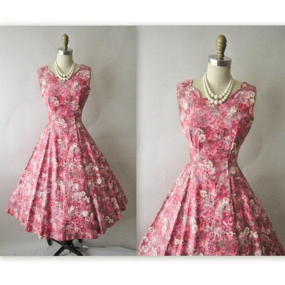 50's Floral Print Dress // Vintage 1950's Floral Print Garden Party Mad Men Cocktail Dress XS