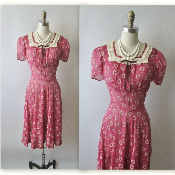 40's Voile Dress // Vintage 1940's Rasberry Floral Print Voile Garden Party Swing Day Dress S