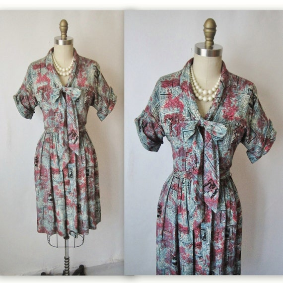 40's Novelty Print Dress // Vintage 1940's Printed Rayon Cocktail Party Dress S