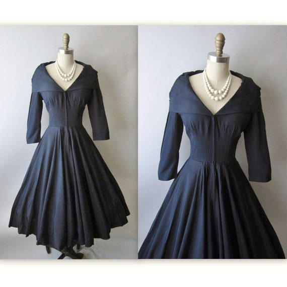 50's Cocktail Dress // Vintage 1950's Navy New Look Full Cocktail Party Dress M L