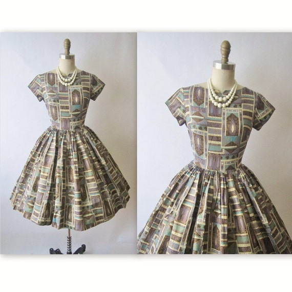 50's Mad Men Dress // Vintage 1950's Print Cotton Garden Party Mad Men Dress XS