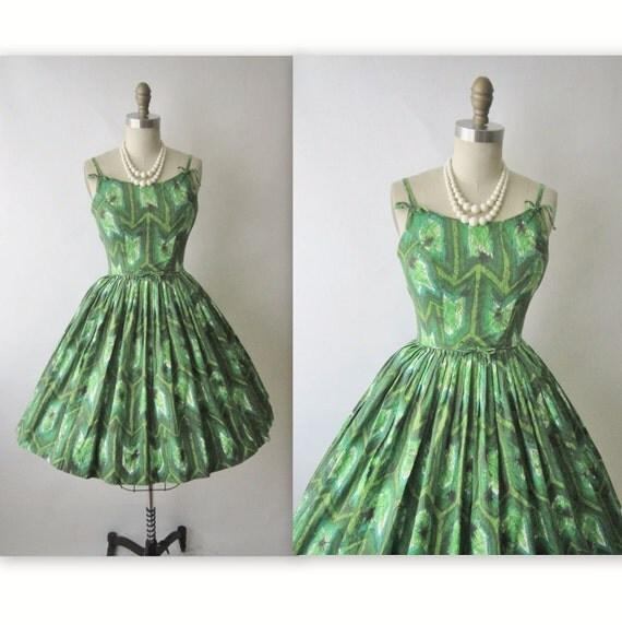 50's Tiki Dress // 1950's Vintage Tiki Print Cotton Full Garden Party Mad Men Dress XS
