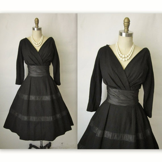 50's Designer Cocktail Dress // Vintage 1950's Black Mollie Parnis New Look Cocktail Party Full Dress M