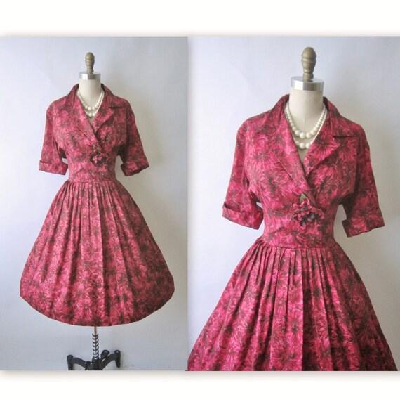 50's Floral Cocktail Dress // Vintage 1950's Floral Print Garden Party Cocktail Dress L