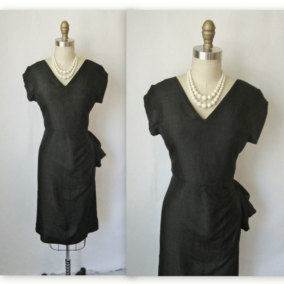 50's Cocktail Dress // Vintage 1950's Black Silk Fitted Cocktail Party Wiggle Dress S M