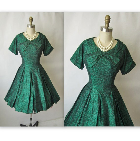 50's Cocktail Dress // Vintage 1950's Floral Brocade Full Cocktail Party Mad Men Dress XS S