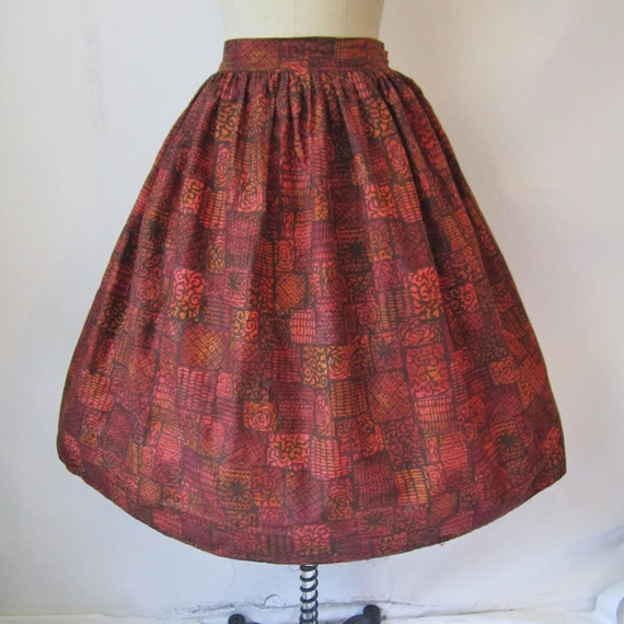 50's Circle Skirt // Vintage 1950's Abstract Print Cotton Full Pleated Garden Party Skirt XS