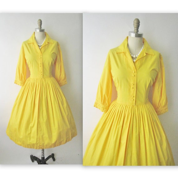 50's Yellow Shirtwaist Dress // Vintage 1950's Embroidered Cotton Full Garden Party Shirtwaist Mad Men Dress L