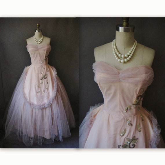 50's Prom Dress // Vintage 1950's Beaded Pink Tulle Strapless Will Steinman Wedding Prom Fantasy Dress S M