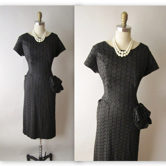 50's Cocktail Dress // Vintage 1950's Black Eyelet Cotton Fitted Swag Cocktail Party Wiggle Dress L