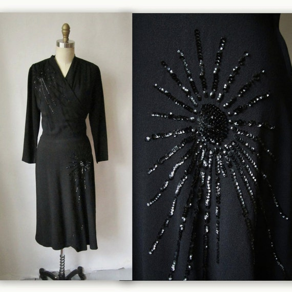 Reserved for Nicole 40's Sequined Dress // Vintage 1940's Black Sequin Rayon Noir Cocktail Party Evening Swing Dress S M