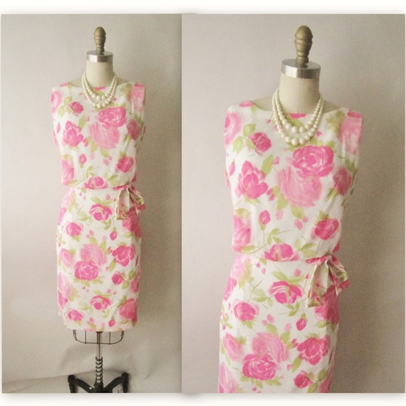 60's Rose Print Dress // Vintage 1960's Pink Rose Print Fitted Sheath Garden Party Summer Dress NOS Tags S M