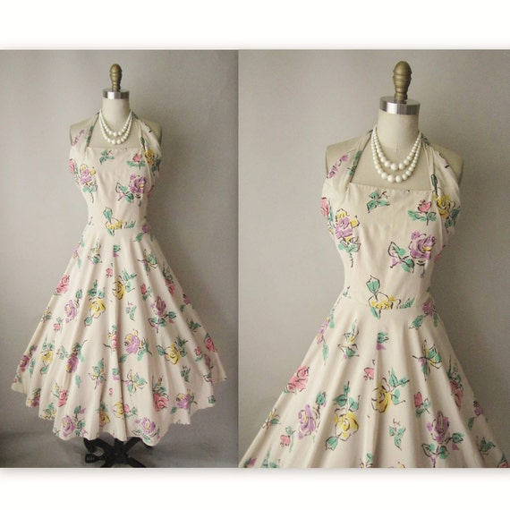 SALE 50's Floral Halter Dress // Vintage 1950's Floral Print Halter Garden Party Circle Prom Dress M