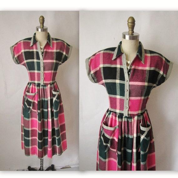 1950's Plaid Dress // Vintage 1950's Pink Plaid Wool Gal Friday Casual Secretary Dress S