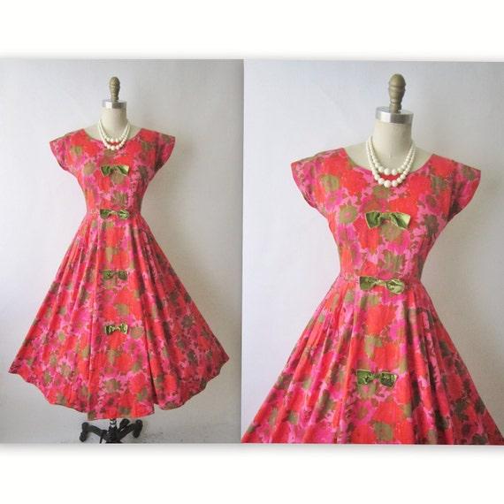 50's Floral Dress // Vintage 1950's Red  Floral Print Cotton Garden Party Summer Dress XS