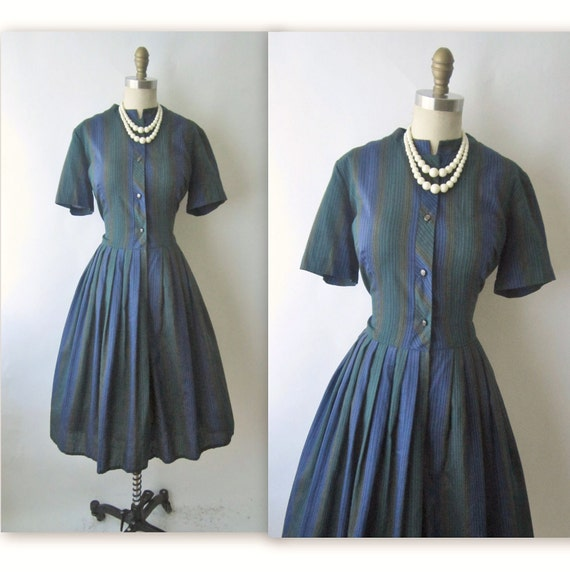 60's Shirtwaist Dress // Vintage 1960's Striped Cotton Shirtwaist Casual Mad Men Dress L