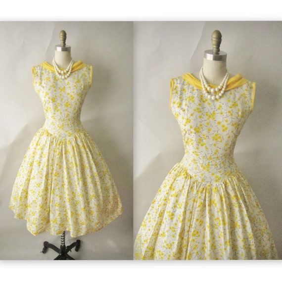 50's Floral Dress // Vintage 1950's Floral Print Organza Garden Party Prom Dress XS