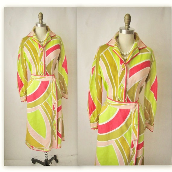 60's Emilio Pucci Set // Vintage 1960's Signed Vibrant Two Piece Blouse & Skirt Set S M