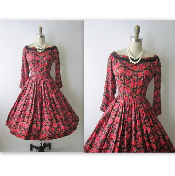 50's Floral Cocktail Dress // Vintage 1950's Floral Print Silk Full Cocktail Party Dress XS