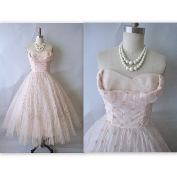 50's Prom Dress // Vintage 1950's Strapless Pink Chiffon Tulle Wedding Party Prom Dress XS