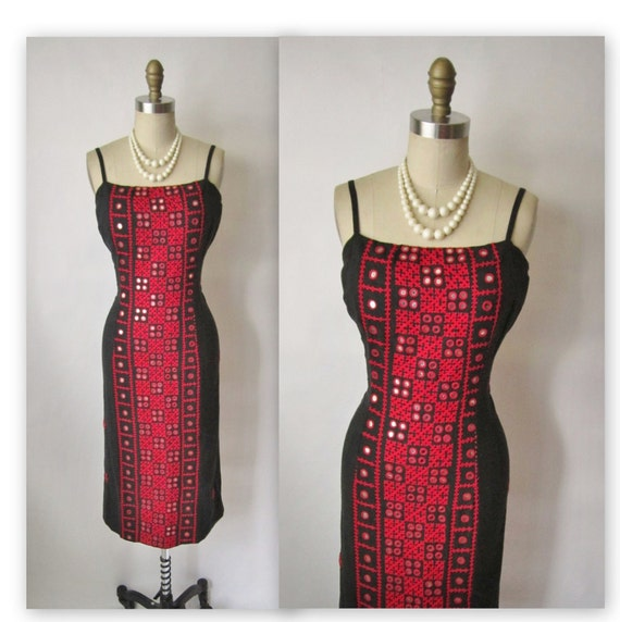 50's Wiggle Dress // Vintage 1950's Embroidered Black Mirror Wiggle Cocktail Party Dress S M