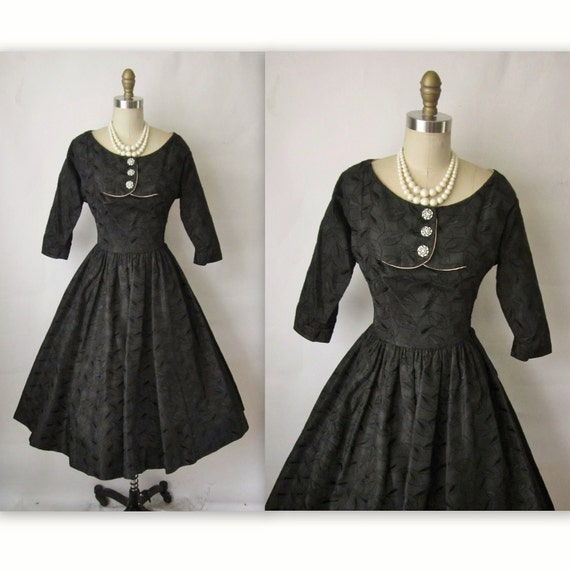 50's Cocktail Dress // Vintage 1950's Embroidered Black Taffeta New Look Cocktail Party Full Dress S