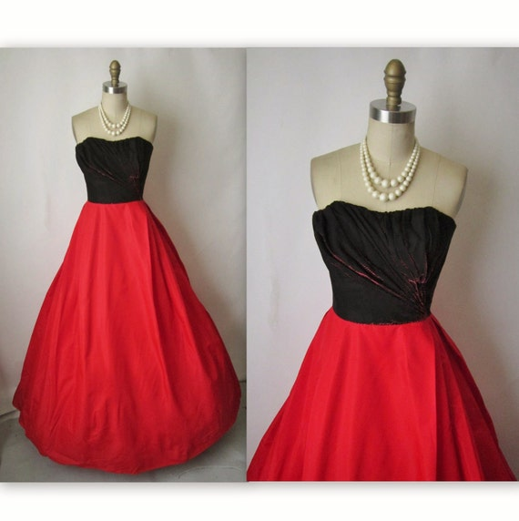 50's Holiday Gown // Vintage 1950's  Red Taffeta Strapless Floor Length Evening Gown XS