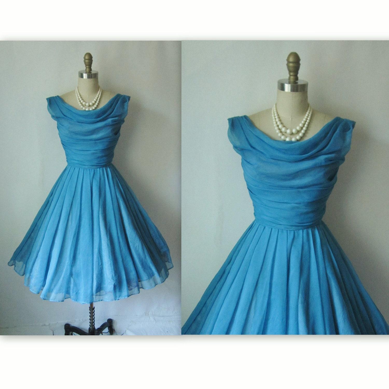 50's Prom Dress // Vintage 1950's Blue Chiffon Prom