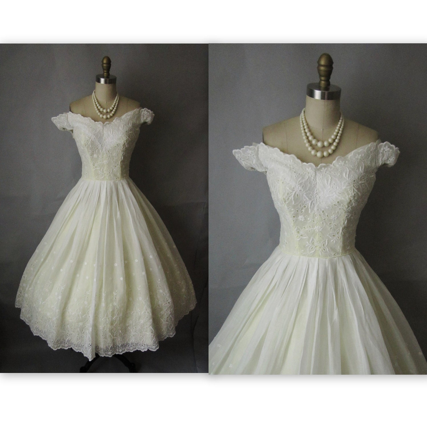 50's Wedding Dress // Vintage 1950's Embroidered