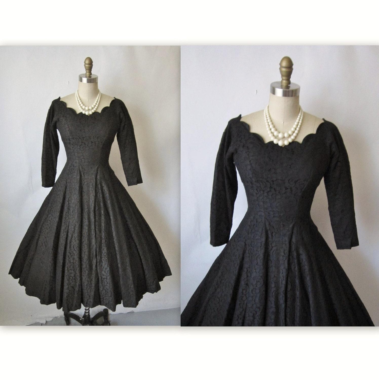 50 S Cocktail Dress Vintage 1950 S Black Lace Full