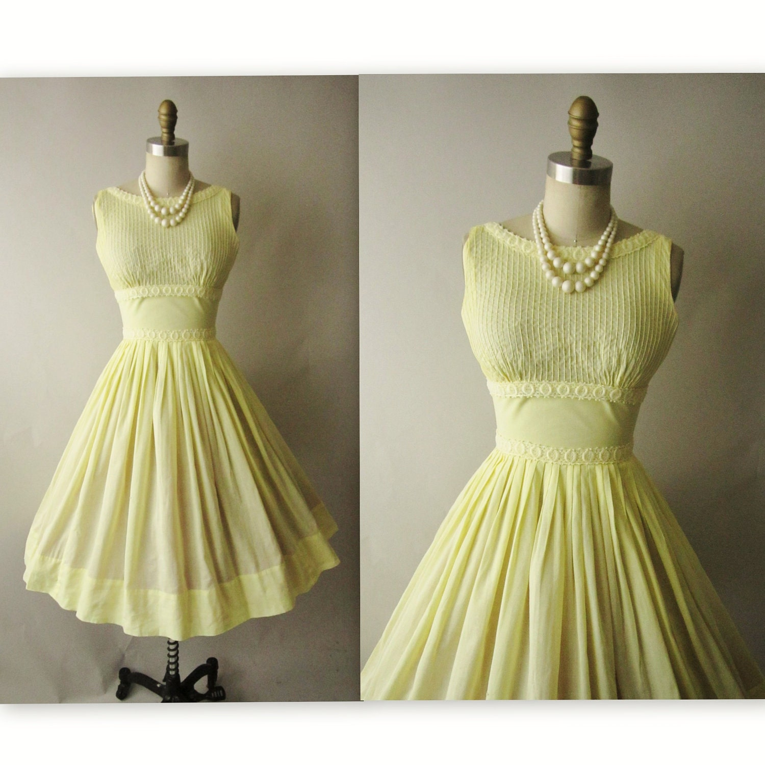 50's Summer Dress // Vintage 1950's Canary Yellow