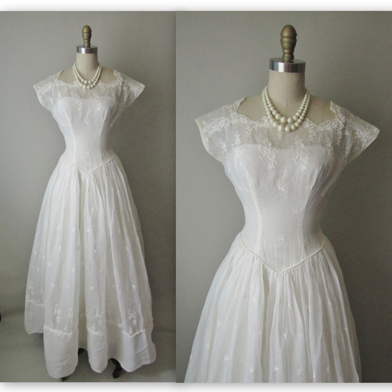 50 39 S Wedding Dress Vintage 1950 39 S Eyelet Organdy