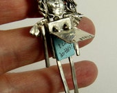 Angel Stella Writes Words Of Strength - Art Jewelry Pendant - Repurposed Sterling, Blue Paper, And PMC - 780