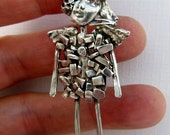 Angel Bailyn Breaks Through - Art Jewelry Pendant - Repurposed Sterling and PMC - 813