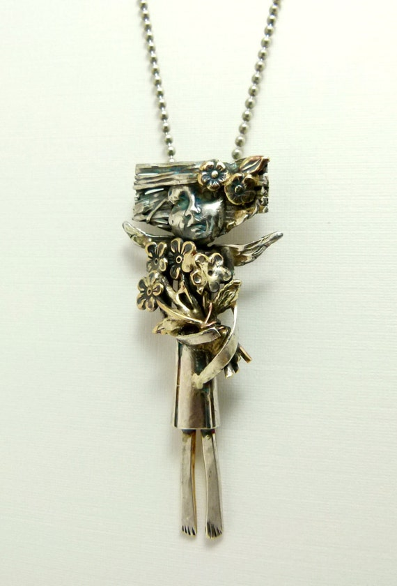 Angel Gracie Gathers Flowers - Re-purposed Sterling, Brass, And, PMC Pendant - 508