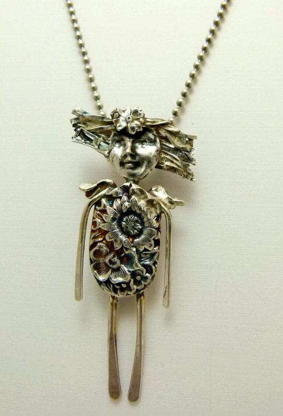 Angel Sage Nurtures Her Soul - Sterling Silverware Jewelry Pendant - 527