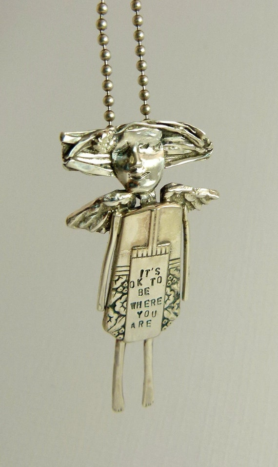 Angel Caitlyn Thinks It's OK To Be Where You Are -  Art Jewelry Pendant - Repurposed Sterling, Silverware, And PMC - 742