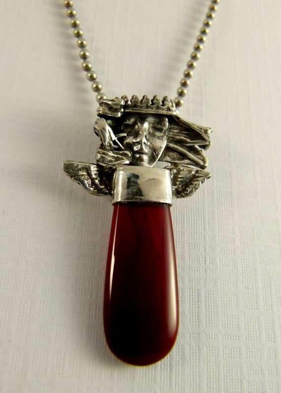 Angel Bailee Believes In Friendship - Repurposed Sterling, A Red Stone, And PMC - Art Jewelry Pendant - 793