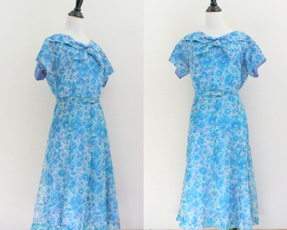 1950s dress / xxl dress / Floral Dress Blue plus size XL