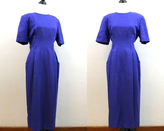 1980s dress /  indigo blue dress / silk cotton dress large Flora Kung