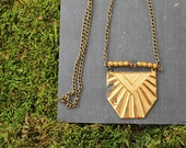 s h e b a : vintage tribal shield necklace with beading