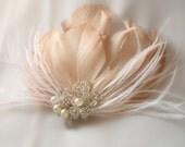 Blush Bridal Hair Fascinator - Blush Feather Hearpiece - Made To Order
