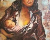 SALE Art Vintage  Original Oil/Acrylic Painting, Vintage Original Painting, Mother and Child