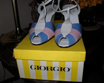 SUMMER SALE Giorgio of Beverly Hills, Classic Wedge Leather Shoes /Made in Italy / Pancaldi for Giorgio