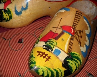Clearance Sale, Wooden Clogs from Holland, Vintage Wooden Dutch Shoes, Handpainted Wooden Shoes