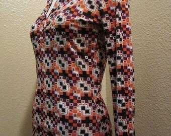 Vintage 1960s Shirt/Blouse, Fabulous retro shirt , Abstract Vintage Blouse